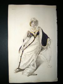 Ackermann 1809 Hand Col Regency Fashion Print. Full Dress 1-15